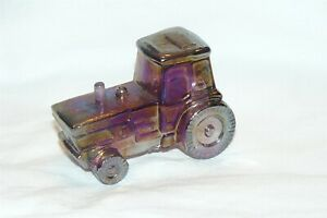 Vintage 1995 Boyd Art Glass Tractor Figurine #26 Royal Plum Carnival EUC