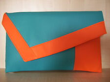 OVER SIZED COLOUR BLOCK ORANGE & TURQUOISE clutch bag, lined