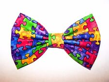 NEW FABRIC HAIR BOW W/ Alligator Clip * PUZZLE Autism * Handmade * FREE SHIPPING