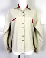 vtg 70s Here's a Hug brand Tan Khaki Red Tartan Plaid Trim Shirt Blouse Top sz M