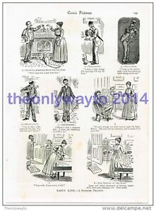 Baby's Bank, A Domestic Tragedy, Comedy Cartoons, Book Illustration, c1895