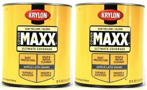 (2 Cans) Krylon Cover Maxx 9624 Gloss Sun Yellow Acrylic Latex Enamel 32 Oz