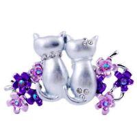Cute Animal Double Cats Crystal Rhinestone Brooch Pin Women Costume Jewelry Gift