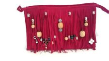 Fringed Clutch Purse Handbag Beaded - Red