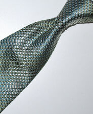 "Banana Republic Mans Tie Hand Sewn Fine Silk 58"" X 4""  Green Blue Brocade Wave"
