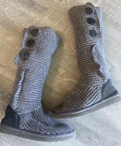 Ugg Australian Classic Tall Gray Crochet Woman Boots Size 7
