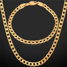 18KGP Gold Plated Chain SG1008 Necklace & Bracelet 24in 9in Set Gift