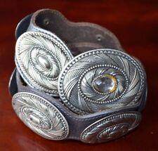 "Vintage Women Gray Leather Belt Concho Silver Tone Length 31 5/8"" Medium Western"