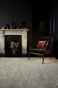 Victoria Contemporary Stone Brown Distressed Damask Floral Soft Wool...