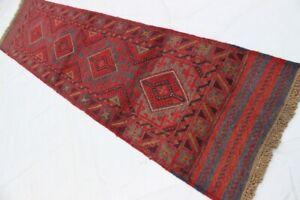 2132...Afghan Tribal hand knotted woolen Mashwani Runner Rugs...252 x 60... CM