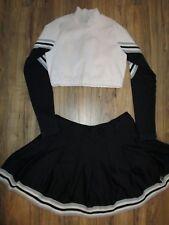 "Sexy! Cheerleader Uniform Outfit Adult XL Crop Top 32"" Skirt Black White"