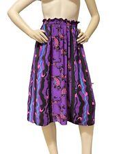 VTG Diane Freis Vintage Skirt Purple Silk Hot Pink Fish Pattern Elastic Waist S
