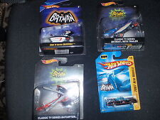 Batman 66 TV Series Hot Wheels Batboat Batcycle Batcoper Batmobile Adam West NIB