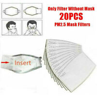 20 Pcs Outdoor PM2.5 Activated Carbon Filter Pad Face Cover Breathing Insert