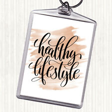 Watercolour Healthy Lifestyle Quote Bag Tag Keychain Keyring
