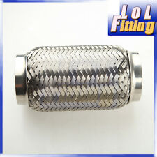 "4.0"" (102mm) ID Exhaust Flex Pipe 6"" Length Stainless Steel coupling Interlock"