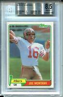 1981 Topps Football 216 Joe Montana 49ers Rookie Card RC Graded BGS NM Mint+ 8.5
