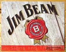 Jim Beam Whiskey TIN SIGN rustic vtg home bar metal poster wall art decor 1652
