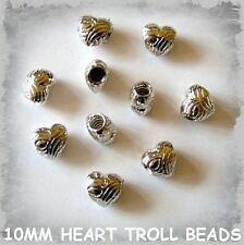 10 SILVER EUROPEAN TROLL HEART BEADS 10 X 8MM  JEWELLERY MAKING FINDINGS
