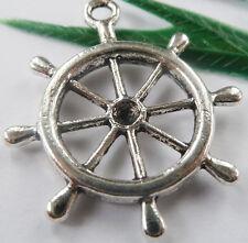 Wholesale free ship 100pcs tibet silver steering wheel charms 29x23mm