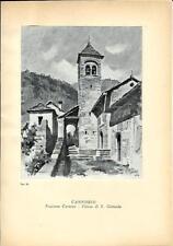 Stampa antica CARMINE San Gottardo Cannobio lago Maggiore 1939 Antique print