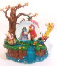 RARE Disney Store Winnie the Pooh Eeyore Tigger Rainy Day Snowglobe Music Box