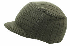 Unisex Olive Urban Knitted Curved Peak Beanie Winter Peaked Ski Hat One Size