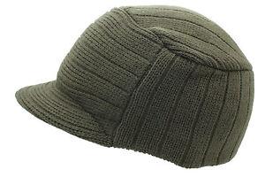 Winter Knitted Peaked Beanie Olive Curved Peak Urban Ski Hat One Size