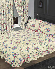 IVORY & PINK FLORAL DOUBLE BED FRILLED ELIZABETH DUVET COVER SET & VALANCE SHEET