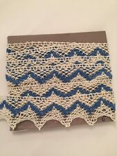 "Vintage 1940 Lace trim white/blue cotton Old Stock 2 Yard 24"" Excellent"