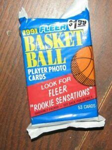 1991 Fleer Basketball 1 Unopened Pack of 53 Cards