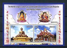 Bhutan 2016 MNH Seated Buddha Dordenma & Guru Rinpoche Statues 2v S/S Stamps