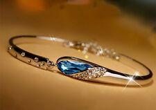 Silver Blue Crystal Bangle Rhinestones Bracelet Vintage Trendy Romantic Fashion