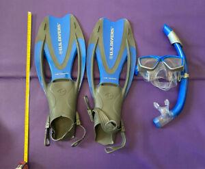 U.S. Divers Cozumel Mask/Seabreeze II Snorkel/Proflex Fins/Gearbag SMALL SIZE
