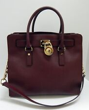 Michael Kors Hamilton Burgundy Saffiano Leather 2 Way Large Tote Shoulder Bag