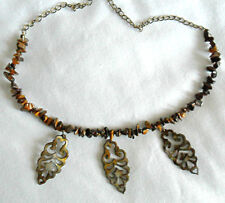 """Handmade 21"""" necklace, Tigers Eye + shell, bronze col. chain"""