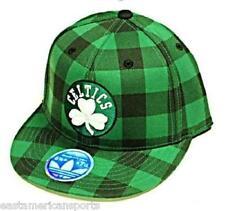 Boston Celtics NBA Adidas Green Flat Visor Hat Cap Plaid Checkered Fashion Flex