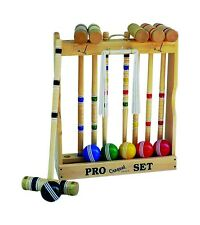 "CROQUET SET & CADDY 6 Player 24"" Maple Wood Brass Amish Handmade Yard Lawn Game"