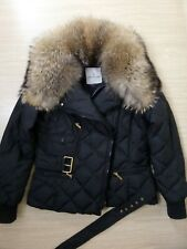 Moncler Women's Down Jacket Bomber Coat Black Size 2/S/M Raccoon Fur Collar