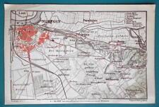 "1905 BAEDEKER MAP - Holland Nijmegen & Environs  4"" x 6"" (10 x 15 cm)"