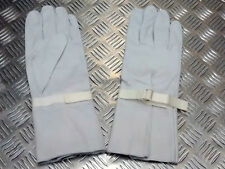 Genuine British Military Light Grey Leather Ceremonial Gauntlet Gloves - NEW