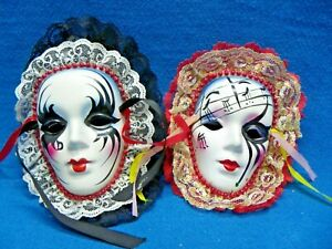 Lot Of 2 Ceramic Wall Masks Venetian Mardi Gras Style Hand Painted Black/Red