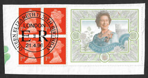1996 70th Birthday of Queen Elizabeth II 1st class stamp pane & label used