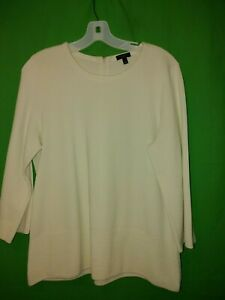 0240) TALBOTS petite large ivory pullover heavy sweater cotton blnd back zip