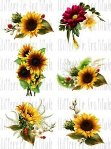 6 Watercolor Sunflower Waterslide Decals for Tumblers SEALED Set #16