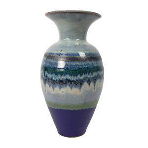 "Purple Hand Made Ceramic Glazed Tall Decorative Bulb Art Vase Signed JM 12"""