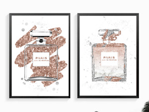 Fashion Art Abstract Rose Gold Silver perfume bottle print 2 designs