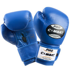 PRO COMBAT USA 12 OZ Pro Velcro Leather Boxing Training Boxing Gloves Blue Color