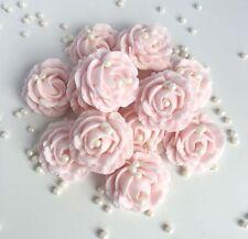 Baby Pink Roses & Pearls Sugar Edible Flower Wedding Christening Cake Decoration