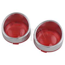 2Pcs Red Turn Signal Light Lens Covers For Harley Touring Road King Visor FLHT